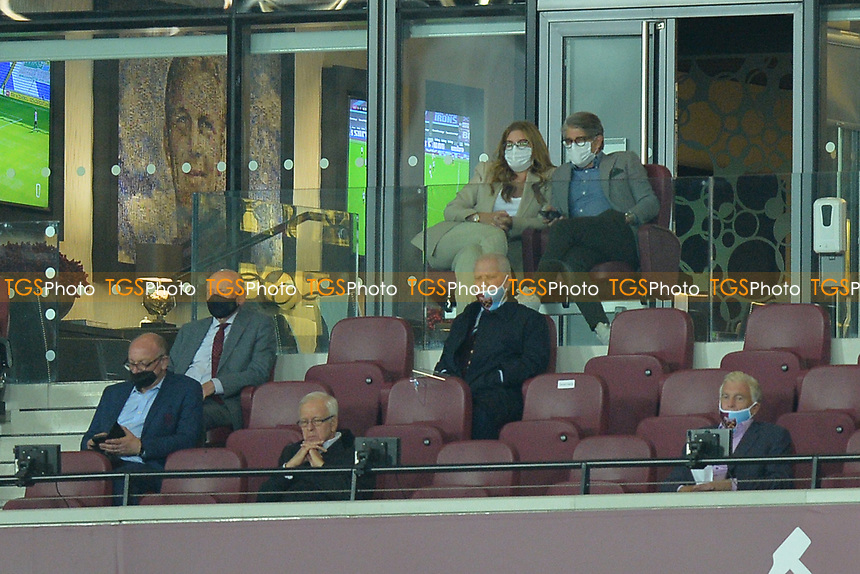 David Gould and Karen Brady during West Ham United vs Newcastle United, Premier League Football at The London Stadium on 12th September 2020