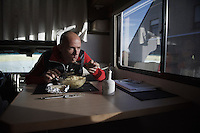 Sven Nys (BEL/Crelan-AAdrinks) consuming a bowl of pasta in his camper 2 hours before the race<br /> <br /> GP Sven Nys 2016
