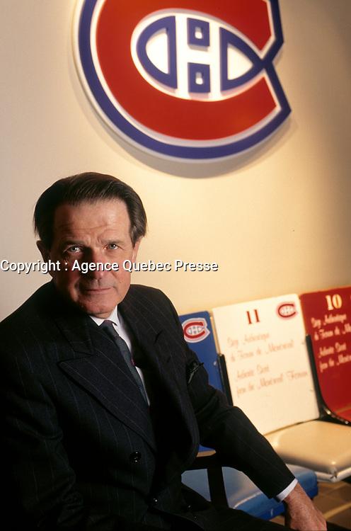 Le patron du Canadien de Montreal,<br /> Ronald Corey,<br /> Avril 1999<br /> <br /> EXCLUSIF<br /> <br /> PHOTO : Agence Quebec Presse