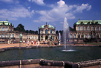 Zwinger Palace, Dresden, Germany, Sachen, Saxony, Europe, Fountain on the grounds of The Zwinger a baroque palace built in 1728.