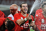 UEFA EURO 2016 Qualifier match between Wales and Andorra at Cardiff City Stadium in Cardiff : <br /> Gareth Bale celebrating with his Welsh team mates after the game.