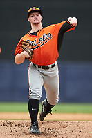 Pitcher Jonathan Gettys (37) of Gainesville High School in Gainesville, Florida playing for the Baltimore Orioles scout team during the East Coast Pro Showcase on July 28, 2015 at George M. Steinbrenner Field in Tampa, Florida.  (Mike Janes/Four Seam Images)