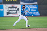 Ogden Raptors shortstop Ronny Brito (5) prepares to catch a pop fly during a Pioneer League game against the Billings Mustangs at Lindquist Field on August 17, 2018 in Ogden, Utah. The Billings Mustangs defeated the Ogden Raptors by a score of 6-3. (Zachary Lucy/Four Seam Images)