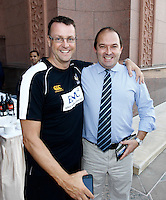 Photo: Richard Lane/Richard Lane Photography. London Wasps in Abu Dhabi for their LV= Cup game against Harlequins on 30th January 2011. 30/01/2011. Wasps' doctor, David Ward with Wasps supporters drinks at the Emirates Palace Hotel.