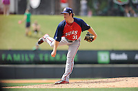 Pitcher Andrew Cooper (31) of the Hagerstown Suns, delivers a pitch in a game against the Greenville Drive on May 12, 2015, at Fluor Field at the West End in Greenville, South Carolina. Greenville won, 4-0. (Tom Priddy/Four Seam Images)