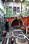 A traditional  courtyard in the Antique Khan Hotel in the Jewish Quarter of the Old City.