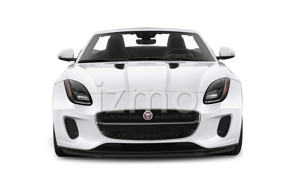 Car photography straight front view of a 2019 Jaguar F-Type - 2 Door Convertible Front View