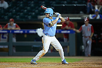 Brandon Riley (1) of the North Carolina Tar Heels at bat against the North Carolina State Wolfpack in Game Twelve of the 2017 ACC Baseball Championship at Louisville Slugger Field on May 26, 2017 in Louisville, Kentucky. The Tar Heels defeated the Wolfpack 12-4. (Brian Westerholt/Four Seam Images)