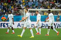 Wayne Rooney of England along with his team mates Daniel Sturridge , Danny Welbeck and Jordan Henderson  look dejected