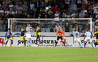 Thursday 08 August 2013<br /> Pictured: Wilfried Bony of Swansea (4th L) heads the ball away from a Malmo corner kick.<br /> Re: Malmo FF v Swansea City FC, UEFA Europa League 3rd Qualifying Round, Second Leg, at the Swedbank Stadium, Malmo, Sweden.