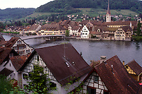 AJ1671, Rhine River, Switzerland, Stein, Europe, Scenic view of the picturesque village of Stein am Rhein with its half-timbered houses along the Rhine River in the Canton of Schaffhausen.