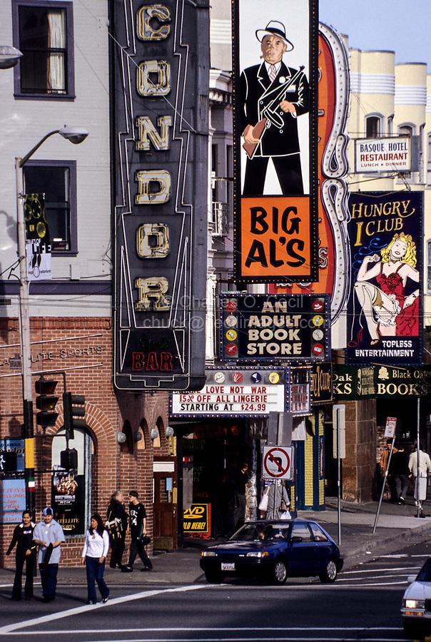 San Francisco, California.  North Beach Night Clubs, Condor, Big Al's, The Hungry i, corner of Broadway and Columbus.