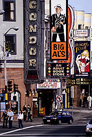 San Francisco, California.  North Beach Night Clubs, Condor, Big Al's, The Hungry i, corner of Broadway and Columbus.