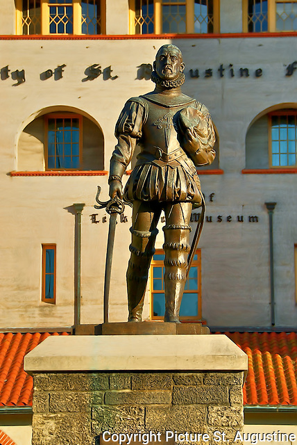 A statue of Pedro Menéndez de Avilés stands prominently atop a high pedestal in front of the historic Alcazar Hotel, which now contains the municipal offices of the City of St. Augustine and the Lightner Museum. A gift of the people of Avilés in 1972, the sculpture is an exact replica of the statue that stands near the tomb of Menéndez in his ancestral home of Avilés.