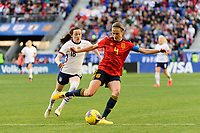 HARRISON, NJ - MARCH 08: Irene Paredes #4 of Spain is marked by Rose Lavelle #16 of the United States during a game between Spain and USWNT at Red Bull Arena on March 08, 2020 in Harrison, New Jersey.
