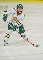 14 February 2015: University of Vermont Catamount Defender Katherine Pate, a Freshman from Saco, Maine, in third period action against the University of New Hampshire Wildcats at Gutterson Fieldhouse in Burlington, Vermont. The Lady Catamounts rallied from a 3-1 deficit to earn a 3-3 tie in the final home game of their NCAA Hockey East season. Mandatory Credit: Ed Wolfstein Photo *** RAW (NEF) Image File Available ***