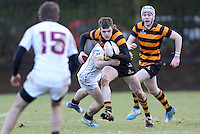 RBAI vs R S ARMAGH | Saturday 21st February 2015<br /> <br /> Callum McLaughlin on the attack during 2015 Ulster Schools Cup Quarter-Final between RBAI and Royal School Armagh at Osborne Park, Belfast, Northern Ireland.<br /> <br /> Picture credit: John Dickson / DICKSONDIGITAL