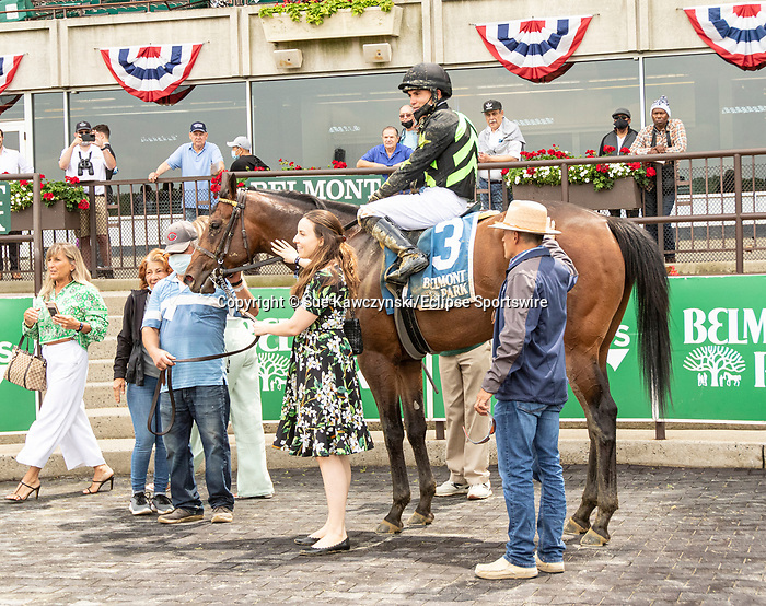JUNE 04, 2021 : Overbore with Joel Rosario aboard, wins the Tremont Stakes, for 2-year olds at 5 1/2 furlongs, at Belmont Park, Elmont, NY. Sue Kawczynski-Eclipse Sportswire-CSM