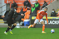 Blackpool's CJ Hamilton under pressure from Milton Keynes Dons' George Williams<br /> <br /> Photographer Kevin Barnes/CameraSport<br /> <br /> The EFL Sky Bet League One - Blackpool v Milton Keynes Dons - Saturday 24 October 2020 - Bloomfield Road - Blackpool<br /> <br /> World Copyright © 2020 CameraSport. All rights reserved. 43 Linden Ave. Countesthorpe. Leicester. England. LE8 5PG - Tel: +44 (0) 116 277 4147 - admin@camerasport.com - www.camerasport.com
