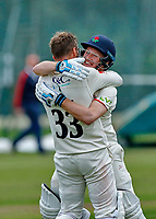 23rd September 2021; Aigburth, Liverpool, Merseyside, England; LV=Country Cricket Championship; Lancashire versus Hampshire;Lancashire captain Dane Vilas is congratulated by Matt Parkinson after hitting the winning run to give his side a one wicket win and keeps them in the title race