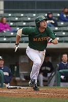 George Mason infielder Brig Tison #36 at bat during a game against the West Virginia Mountaineers at BB&T Coastal Field on February 26, 2012 in Myrtle Beach, SC.  George Mason defeated West Virginia 1-0. (Robert Gurganus/Four Seam Images)