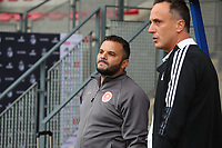 Head coach Tiziano Rutilo of Femina White Star Woluwe and headcoach Stephane Guidi of Standard de Liege pictured during a female soccer game between Standard Femina de Liege and White Star Woluwe on the fifth matchday of the 2021 - 2022 season of Belgian Scooore Womens Super League , saturday 2 nd of October 2021  in Angleur , Belgium . PHOTO SPORTPIX   SEVIL OKTEM