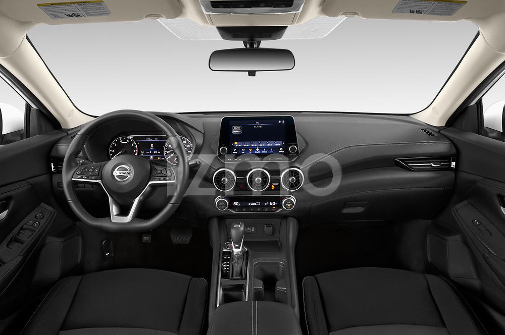 Stock photo of straight dashboard view of 2020 Nissan Sentra SV 4 Door Sedan Dashboard