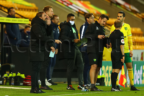 3rd November 2020; Carrow Road, Norwich, Norfolk, England, English Football League Championship Football, Norwich versus Millwall; Norwich City Manager Daniel Farke gives out instructions
