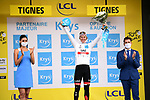 Tadej Pogacar (SLO) UAE Team Emirates also retains the young riders White Jersey at the end of Stage 9 of the 2021 Tour de France, running 150.8km from Cluses to Tignes, France. 4th July 2021.  <br /> Picture: A.S.O./Pauline Ballet   Cyclefile<br /> <br /> All photos usage must carry mandatory copyright credit (© Cyclefile   A.S.O./Pauline Ballet)