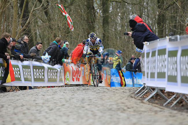 Juan Antonio Flecha (ESP) Vacansoleil-DCM Pro Cycling Team leads the climb up Kemmelberg for the first time during the 75th edition of Gent-Wevelgem, Belgium, 24th  March 2013 (Photo by Eoin Clarke 2013)