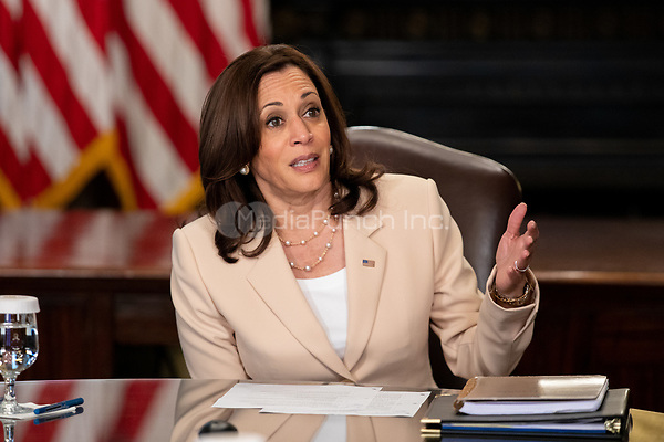U.S. Vice President Kamala Harris has a ceremonial conversation with election workers in her Ceremonial Office at the White House in Washington on Wednesday, July 21, 2021.<br /> Credit: Amanda Andrade-Rhoades / Pool via CNP /MediaPunch