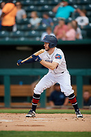 Jacksonville Jumbo Shrimp Brian Miller (5) squares to bunt during a Southern League game against the Mobile BayBears on May 28, 2019 at Baseball Grounds of Jacksonville in Jacksonville, Florida.  Mobile defeated Jacksonville 2-1.  (Mike Janes/Four Seam Images)