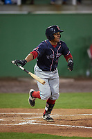 Salem Red Sox catcher Jhon Nunez (2) at bat during the second game of a doubleheader against the Potomac Nationals on May 13, 2017 at G. Richard Pfitzner Stadium in Woodbridge, Virginia.  Potomac defeated Salem 3-2.  (Mike Janes/Four Seam Images)