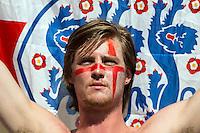 An England fan looks dejected