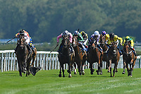 Winner of The AJN Steelstock Henstridge Apprentice Handicap  Kodiac Pride ridden by Kaia Ingolfsland and trained by Sir Mark prescott loses her weight cloth and weighed in underweight during Horse Racing at Salisbury Racecourse on 9th August 2020