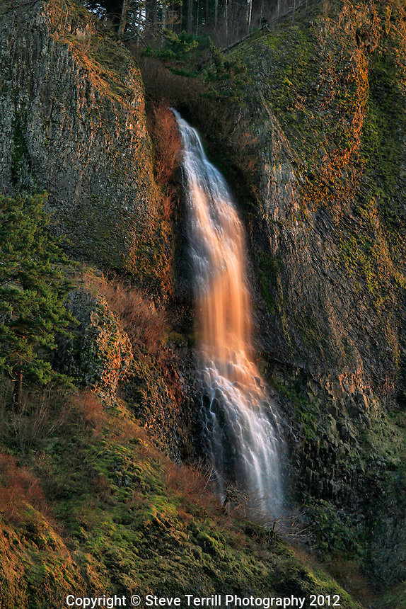 Mist Falls in evening light in Columbia River Gorge National Scenic Area Oregon