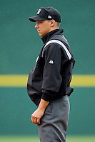 First base umpire Adam Hamari during the International League game between the Buffalo Bison and the Charlotte Knights at Knights Stadium on May 13, 2012 in Fort Mill, South Carolina.  The Bison defeated the Knights 7-6.  (Brian Westerholt/Four Seam Images)