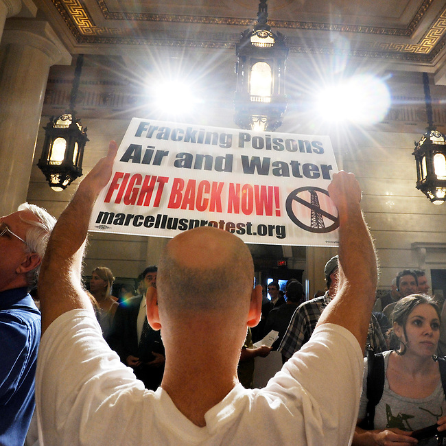 An environmental clean water protester participates in a rally in the state capitol against gas drilling in the Marcellus Shale natural gas formation Tuesday, June 7, 2011 in Harrisburg, Pa.  (AP PHOTO/Bradley C. Bower)