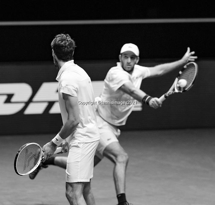 Rotterdam, The Netherlands, 6 march  2021, ABNAMRO World Tennis Tournament, Ahoy,  Semi final doubles:  Jeremy Chardy (FRA) Fabrice Martin (FRA). Photo: www.tennisimages.com/henkkoster