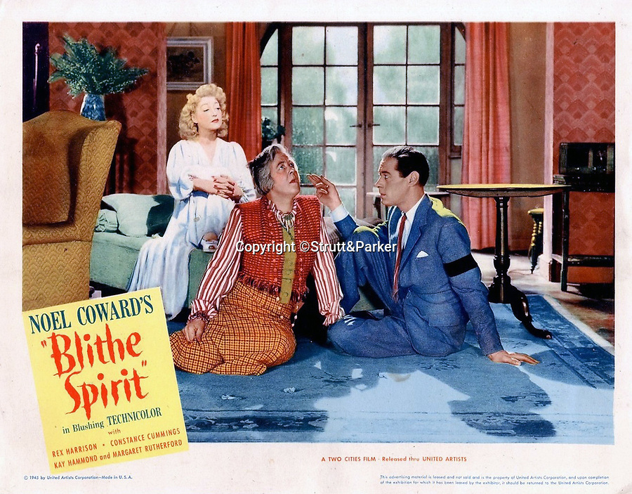 BNPS.co.uk (01202 558833)<br /> Pic:  Strutt&Parker/BNPS<br /> <br /> Movie poster for the classic film 'Blithe Spirit'.<br /> <br /> An elegant Georgian villa which featured prominently in the classic film Blithe Spirit has emerged on the market for £6.5million.<br /> <br /> Grade II listed Denham Mount, in Denham, Middlesex, was used for the 1945 film adaptation of Noel Coward's comic play starring Rex Harrison and Constance Cummings.<br /> <br /> Much of the film was shot in the property's veranda which overlooks picturesque parkland and a lake.<br /> <br /> The villa was built by architect Robert Lugar in the early 19th century who said of it 'this pleasing retreat offers everything the mind of taste could require to produce comfort and cheerfulness'.