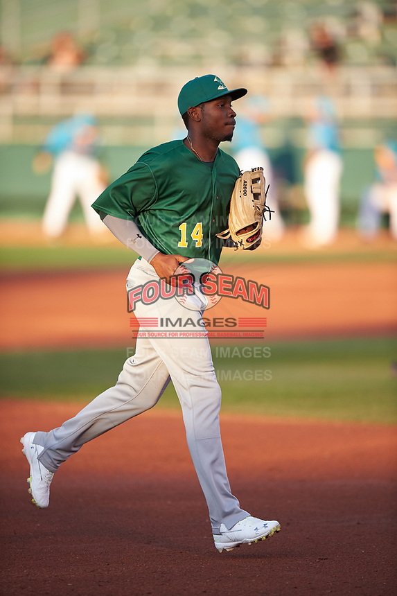 Beloit Snappers center fielder Lester Madden (14) jogs off the field between innings of a Midwest League game against the Lansing Lugnuts at Cooley Law School Stadium on May 4, 2019 in Lansing, Michigan. Beloit defeated Lansing 2-1. (Zachary Lucy/Four Seam Images)