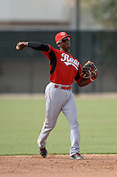 Cincinnati Reds shortstop Cory Thompson (15) during an Instructional League game against the Milwaukee Brewers on October 6, 2014 at Maryvale Baseball Park Training Complex in Phoenix, Arizona.  (Mike Janes/Four Seam Images)