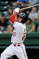Designated hitter Carlos Asuaje (20) of the Greenville Drive bats in a game against the Asheville Tourists on Monday, April 21, 2014, at Fluor Field at the West End in Greenville, South Carolina. Greenville won, 8-3. (Tom Priddy/Four Seam Images)