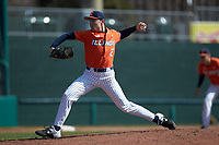 Illinois Fighting Illini starting pitcher ColeKirschsieper (27) in action against the West Virginia Mountaineers at TicketReturn.com Field at Pelicans Ballpark on February 23, 2020 in Myrtle Beach, South Carolina. The Fighting Illini defeated the Mountaineers 2-1.  (Brian Westerholt/Four Seam Images)