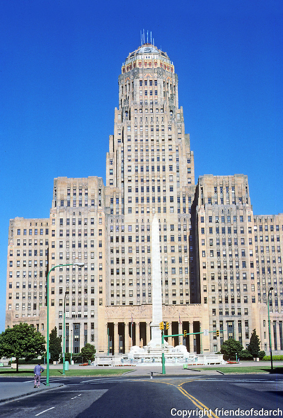 Buffalo: Buffalo City Hall, 1929-31. George Dietel, Architect and Chief Designer, John J. Wade.  Greatly influenced by Hugh Ferriss. Art Deco. The friezes by Albert Stewart and  sculpture by  Rene Paul Chambellan. National Register of Historic Places in 1999. Photo '88.