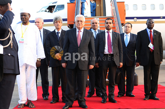 Palestinian President Mahmoud Abbas (Abu Mazen) during his arriving to Uganda to participate in the African summit on July 24,2010. Photo by Thaer Ganaim