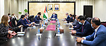 Palestinian Prime Minister Mohammed Ishtayeh meets with a delegation from the US Senate, in the West Bank city of Ramallah on September 3, 2021. Photo by Prime Minister Office