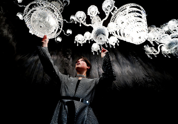 GLASS GLAZING<br />NCAD graduate Stephanie Johnson, pictured admiring the work of Tara Crystal Chandeliers at the 52nd Irish Antique Dealers Fair in Dublin.
