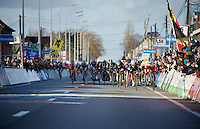 bunch sprint to the finish with Mark Cavendish (GBR/Ettix-QuickStep), Elia Viviani (ITA/Sky) & Alexander Kristoff (NOR/Katusha) going for the win<br /> <br /> 67th Kuurne-Brussels-Kuurne 2015