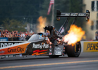 Sep 14, 2018; Mohnton, PA, USA; NHRA top fuel driver Clay Millican during qualifying for the Dodge Nationals at Maple Grove Raceway. Mandatory Credit: Mark J. Rebilas-USA TODAY Sports